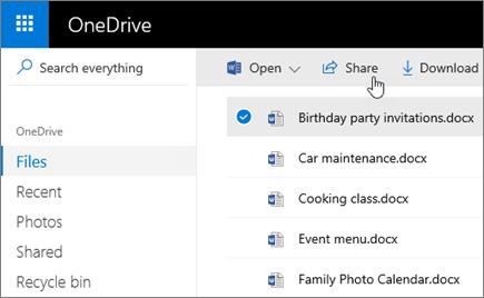 Captura de pantalla de un archivo seleccionado y del botón Compartir de OneDrive.