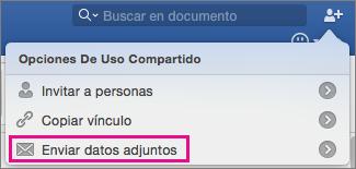 Para enviar el documento como datos adjuntos en un mensaje de correo electrónico, haga clic en Enviar datos adjuntos.