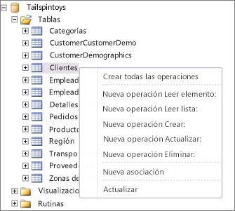 Captura de pantalla donde aparece la base de datos de Tailspintoys en SharePoint Designer. Si hace clic con el botón secundario en el nombre de la tabla, aparece un menú en el que puede seleccionar las acciones que desea crear.