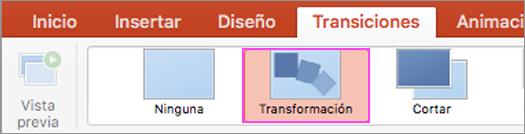 Transiciones de PowerPoint fluidas con Transformación.