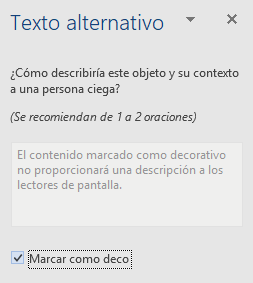 Panel de Texto alternativo para elementos decorativos en Word para Win32