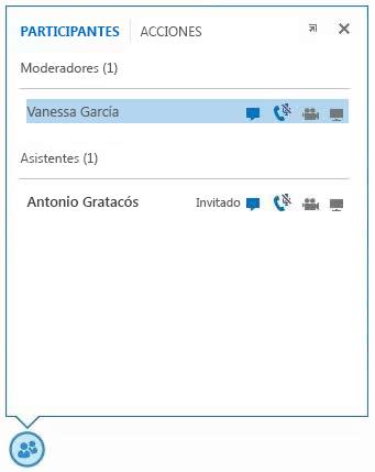captura de pantalla de los iconos que aparecen junto al nombre del participante para indicar la disponibilidad de su capacidad de MI, audio, vídeo y uso compartido