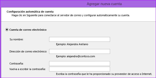 Agregar nombre y dirección de correo electrónico de Outlook 2010