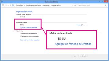 Agregar un método de entrada en Windows 8