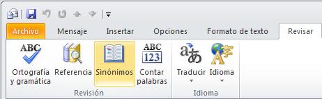 Icono de Sinónimos de la cinta de opciones de Outlook