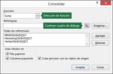Consolidar datos en varias hojas de cálculo - Excel
