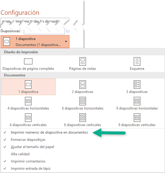 Imprima números de diapositiva en los documentos.