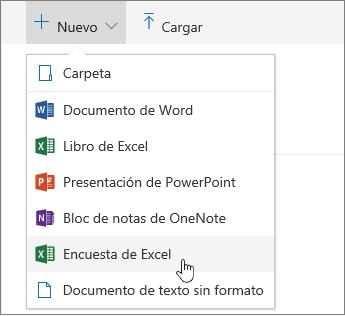 Menú Nuevo, comando Encuesta de Excel