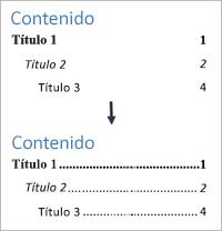 Se muestra cómo agregar puntos de relleno a una tabla de contenido