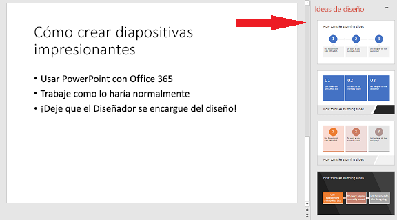 Ejemplo de una diapositiva básica que el Diseñador de PowerPoint puede convertir en un gráfico