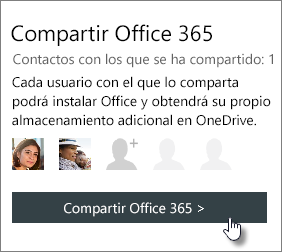 """Captura de pantalla de la sección """"Compartir Office 365"""" de la página Mi cuenta que muestra la suscripción compartida con una persona."""