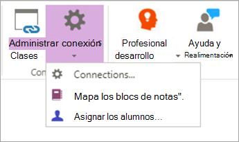 Seleccione las conexiones en la cinta de opciones de Bloc de notas de clase.