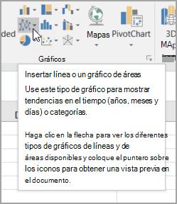Insertar gráfico de líneas o de área