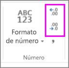 Aumentar o disminuir decimales en formato de números