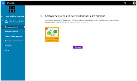 Paso del Asistente de configuración para agregar material informativo a un bloc de notas de clase Code.org