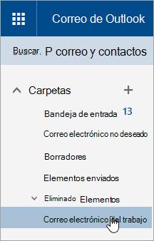 Captura de pantalla del cursor mantener el mouse sobre una carpeta en el panel de navegación en Outlook.com.