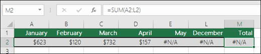 Ejemplo de #N/A en celdas que evita que se calcule correctamente una fórmula de SUMA.