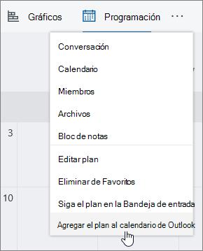 Captura de pantalla del menú de Planner con agregar plan a calendario de Outlook seleccionado.