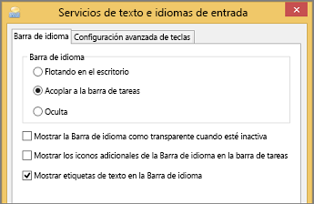 Servicios de texto e idiomas de entrada de Office 2016 en Windows 8