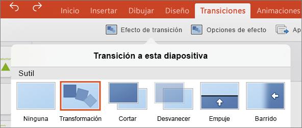 Muestra la transición de transformación en el menú Transiciones en PowerPoint 2016 para iPad
