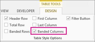 Cuadro de columnas con bandas en la pestaña Diseño de herramientas de tabla