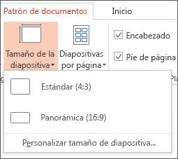Menú Tamaño de diapositiva