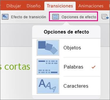 Muestra las Opciones de efectos de la transición de transformación en PowerPoint 2016 para iPad