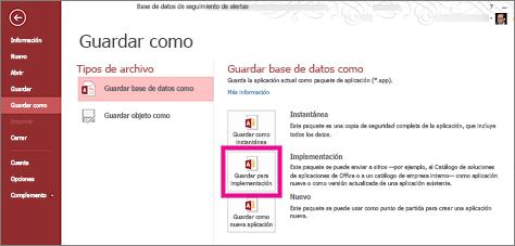 La opción Guardar para su implementación en la página Guardar como