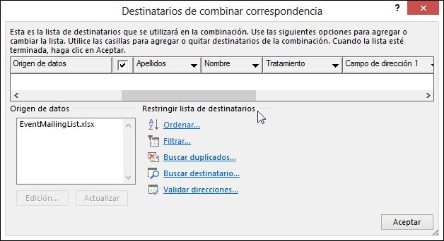 """En un documento de combinación de correspondencia de Word, seleccione """"Editar destinatarios"""" y, en el cuadro de diálogo """"Destinatarios de combinación de correspondencia"""", en """"Restringir lista de destinatarios"""", seleccione una opción."""