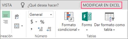 Botón para editar en Excel