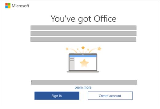 Muestra el cuadro de diálogo que aparece al abrir una aplicación de Office en un nuevo dispositivo que incluye una licencia de Office.