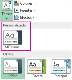 Temas personalizados a los que se tiene acceso desde el botón Temas