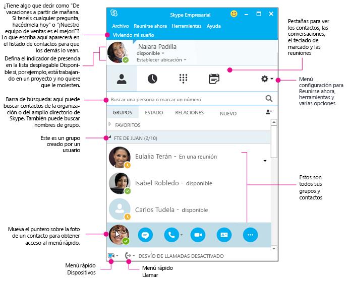 La ventana Contactos de Skype Empresarial, como diagrama