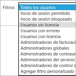 Seleccione los usuarios sin licencia de la lista Filtros.