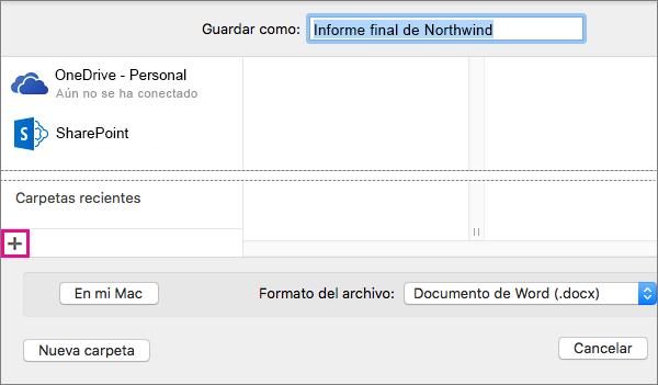 Para agregar un servicio en línea, haga clic en el signo más, en la parte inferior de la columna izquierda del cuadro de diálogo Guardar como.