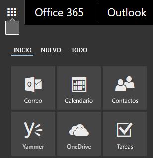 El iniciador de aplicaciones de Office 365 mostrando los iconos de Correo, Calendario, Contactos, Yammer y OneDrive