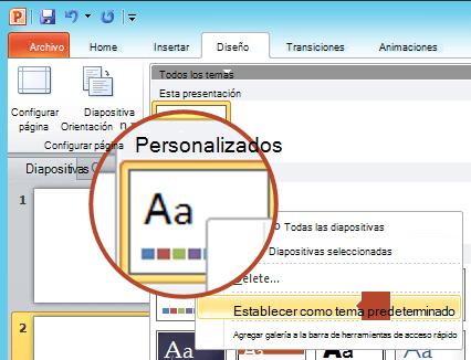 """Haga clic con el botón derecho en el nuevo tema que se muestra en el encabezado """"Personalizado"""" y luego elija """"Establecer como tema predeterminado""""."""