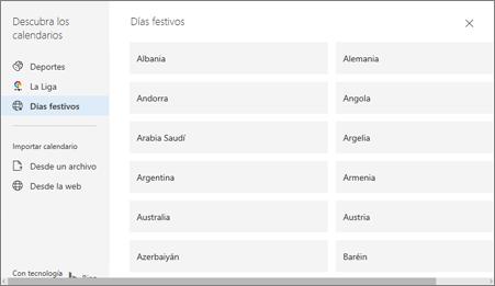 Una captura de pantalla que muestra la opción Días festivos en Descubrir calendarios.
