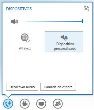 captura de pantalla de las opciones que se muestran al mantener el mouse sobre el botón de audio