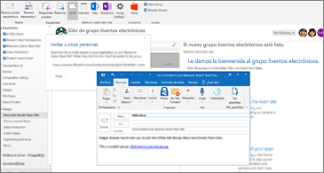 """Cuadro de diálogo """"Invitar a otros usuarios"""" en segundo plano y un correo para el invitado en primer plano"""