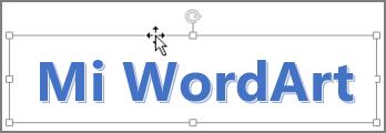 WordArt con un cursor de flecha de cuatro puntas