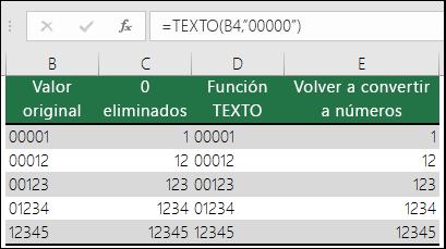"""Ejemplos de uso de TEXTO para dar formato con ceros a la izquierda. =TEXTO(A2,""""00000"""")"""