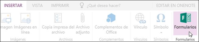 Opción insertar formularios en OneNote para la web