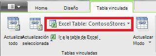 Cinta de opciones vinculada que indica una tabla de Excel
