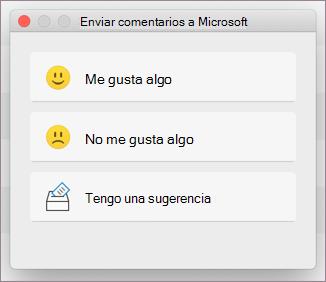 Cuadro de diálogo Comentarios para MacOS