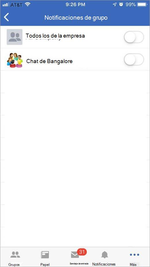 Página de Yammer de iOS para seleccionar grupos para recibir notificaciones