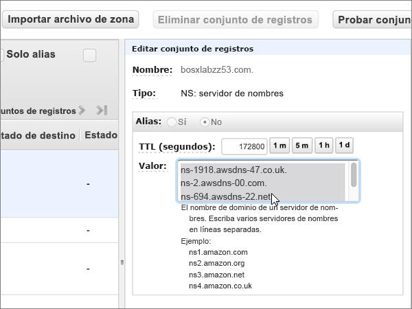 Seleccionar y eliminar todos los servidores de nombres en el cuadro valor