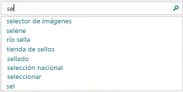 El cuadro de búsqueda muestra palabras similares a las que está escribiendo el usuario