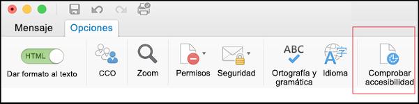 Captura de pantalla de la interfaz de usuario de Outlook donde se muestra cómo abrir el Comprobador de accesibilidad