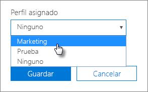 En el panel Dispositivo, seleccione un perfil asignado para aplicarlo.